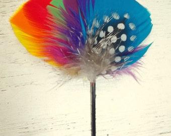 Wedding Rainbow Boutonniere, Weddings, Bridal, Mens Boutineere for Tuxedo Lapel or Hat Fedora Stick Groomsen Accessories, Men, Ring Bearer