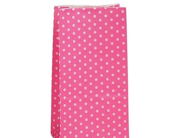TAX SEASON Stock up 25 pack Pink and white Polka Dot patterned SOS Style 3.65 X 2.25 X 7 Inch Bags