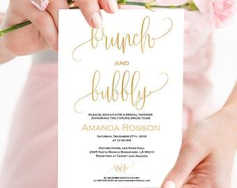 Gold Bridal Brunch Invitation Shower - Gold and White Bridal shower invitation - Wedding brunch invitation - Printable wedding #WDH304_6