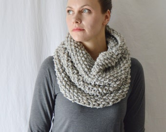 Discontinued Wool Knit Infinity Scarf, Acrylic Crochet Cowl, Thick Textured Scart, Ready to Ship