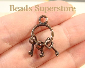 27 mm x 12 mm Antique Copper 3D Key Charm / Pendant - Nickel Free, Lead Free and Cadmium Free - 6 pcs (CH176)