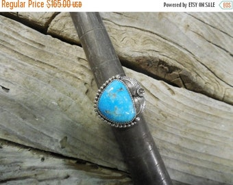 ON SALE Turquoise ring handmade in sterling silver with a beautiful blue turquoise stone