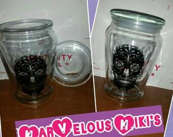 Sugar skull stash jar