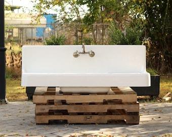 Large Strom Clarion Antique Style Farm Sink Double Drainboard High Back  Apron Cast Iron Porcelain Kitchen