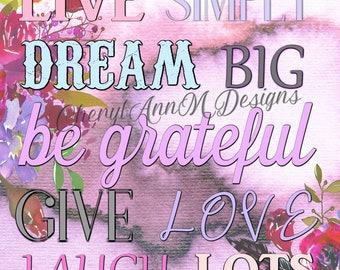 Live simply water color PRINTABLE