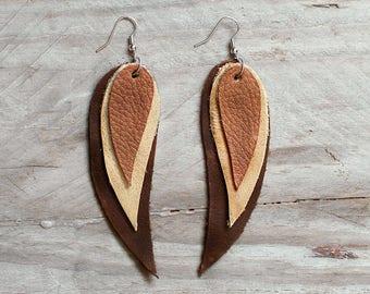 Dark brown, beige and brown Feather Leather Earrings, layered earrings, tribal Earrings, Boho earrings, dangle earrings, long earrings