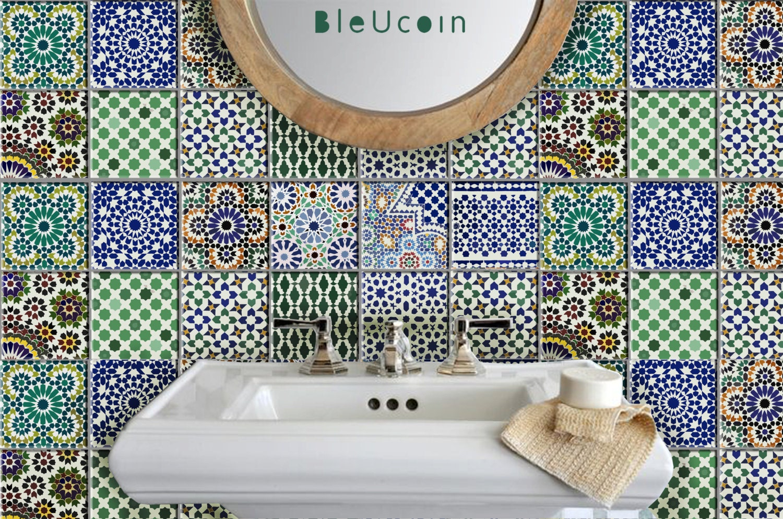 Moroccan TileWall Floor Decal Kitchen Bathroom Indoor