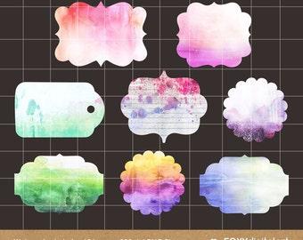 Watercolor Labels Clipart, Watercolor Frames, Tags, Scrapbook Embellish, Digital Labels Watercolor Clipart- CL17