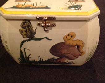 Beautiful whimsical vintage yellow decoupage pocketbook by H E  Stalinski