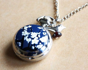 Cherry flowers Necklace, sakura Pocket watch, sakura necklace, Cherry flowers watch,  2222m