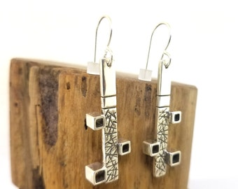Sterling Silver Modern Chaos and Control and Cubism Vintage Style Drop Bar Earrings