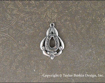 Antiqued Sterling Silver Plated Bohemian Victorian Art Nouveau Jewelry Earring or Pendant Jewelry Drop (item 1160 AS) - 6 Pieces