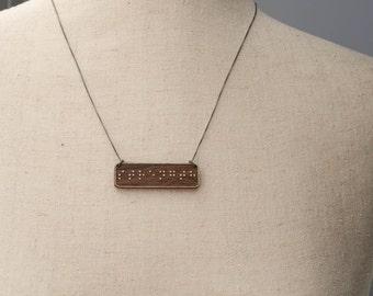 STRENGTH Braille Necklace : Modern / Minimalist / Message / Virtue