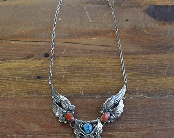 Vintage Southwestern Sterling Silver Turquoise and Coral Necklace