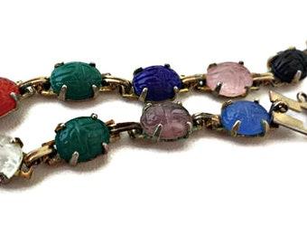 Egyptian Revival Scarab Bracelet Pressed Glass Beetle Multi Color