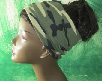 Camouflage Headband - Jersey Headdband- Women Turbans- Hair Accessories- Yoga Headband