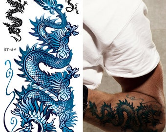 Supperb Temporary Tattoos - Blue Dragon II (Set of 2)