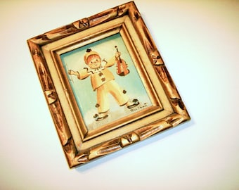 Clown Oil Painting Signed Happy Violin Clown Picture Wood Carved Frame Vintage Oil Painting Decorative Frame Clown Picture Collectible Clown