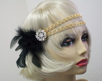 Gold 1920s headpiece, 1920s headband, Great Gatsby headpiece, 1920s hair accessory, Flapper headband, Downton Abbey, Rhinestone Art Deco