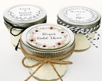 25 Wedding Favor Candles | Mason Jar Favors | Rustic Favors | Wedding Favors | Custom Wedding Favor | Baby Shower Favor | Wedding Candle