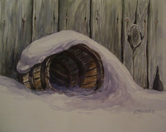 Barrel in the Snow,16x20 Original Watercolor Painting,One of a Kind,Not a Print,