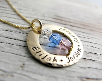 Hand Stamped Gold Mother's Necklace, Grandmother Necklace, Kids Name Necklace, Birthstone Necklace, Christmas Gift