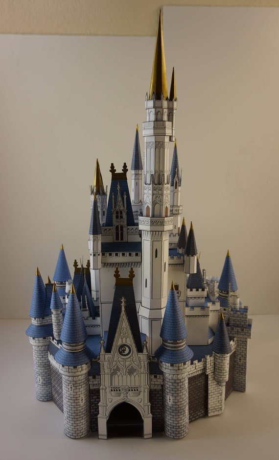 build your own paper craft cinderella castle scale model disney world paper pieces and
