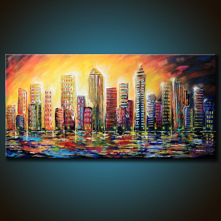 48x24 original city abstract painting colorful textured