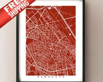 Albacete, Spain Map -  Art Print