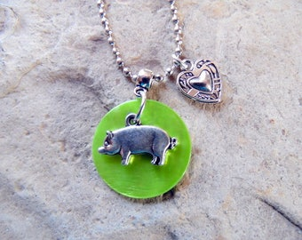Pig Necklace, Show Pig, Stock Show Pig, Pig Gift, 4-H Show Pig, FFA Show Pig, Livestock Jewelry, Pig Lover, Livestock Show, FFA, 4-H