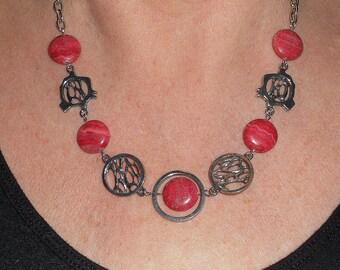 Pink gemstone necklace,statement necklace, unique necklaces for women, gemstone jewelry, rhodochrosite necklace, boho chic jewelry
