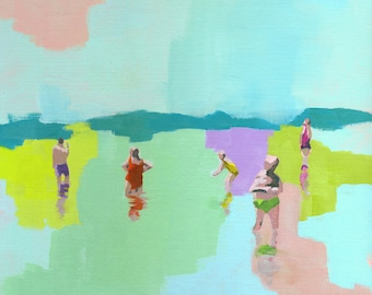 Fresh - original acrylic figurative abstract painting of a people in the beach sea water swimming pastel seascape living room decor art