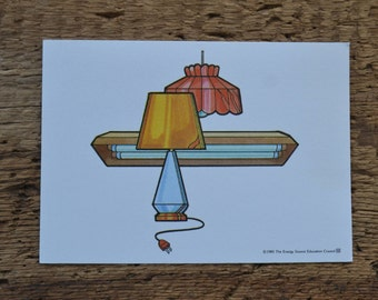 Vintage 1980s Educational Ephemera Scrapbooking Picture Print Flash Card - Lights Lamps