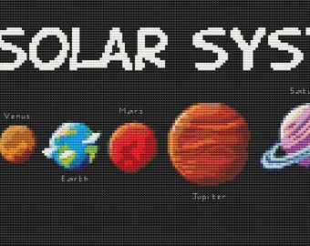 Space Cross Stitch Chart, Solar System Cross Stitch Pattern PDF, Space Cross Stitch, Planet Cross Stitch, Embroidery Chart