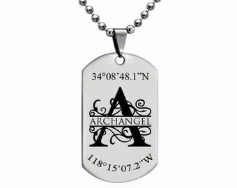 Stainless Steel Dog Tag Necklace, Custom Engrave Split Monogram Dog Tag Necklace, Initial Dog Tag Necklace,Coordinates Necklace-SSN486