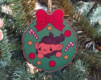 Kawaii Krampus Nugget Wooden Christmas Tree Ornament