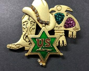 Cowboy Brooch , Vintage western Brooch , USA Cowboy pin , Cowgirl Brooch