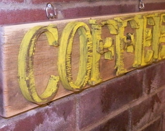 Large COFFEE Sign Antiqued Wood Rustic Kitchen Decor Wall Hanging Sign