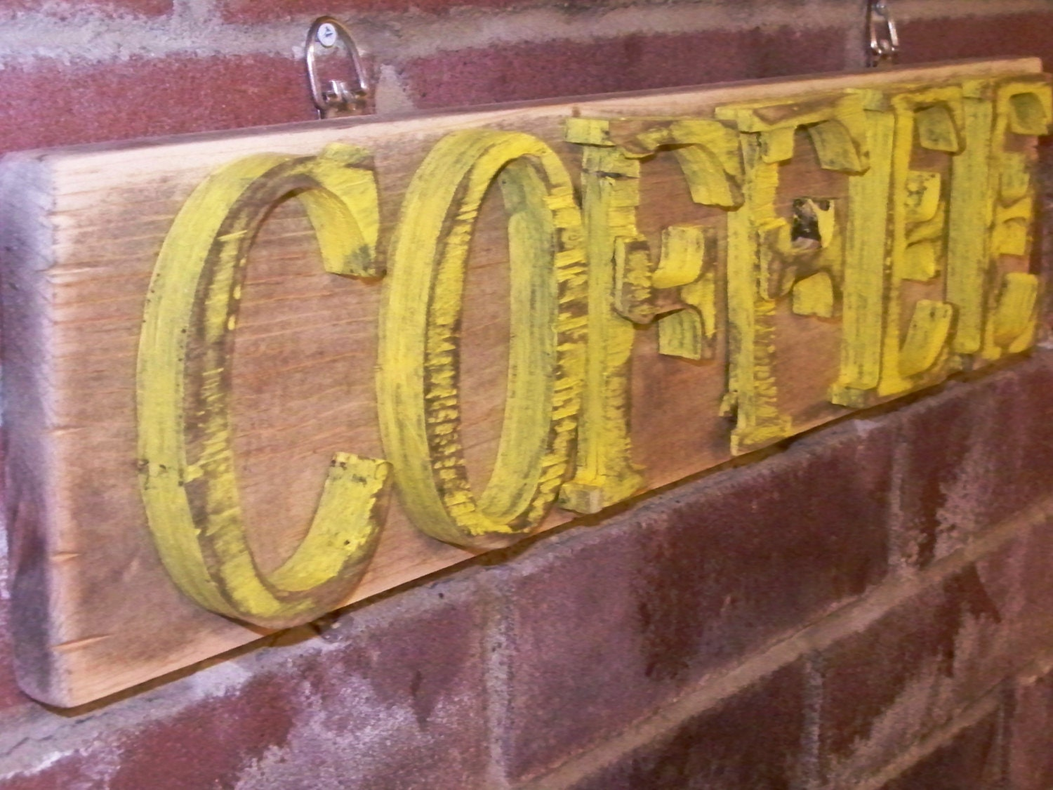 COFFEE Sign Distressed Wood Rustic Kitchen Decor Wall Hanging