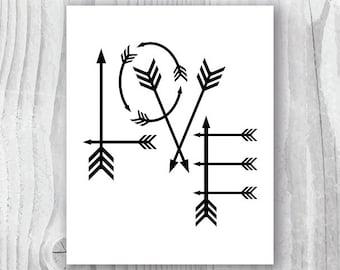 Love Arrows Print, Arrows Art Print, Boho Nursery, Black and White Art Printable, Tribal Nursery Art, Modern Nursery Wall Art, Typography