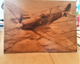 Burned wooden Spitfighter picture  (pyrography) A5 size