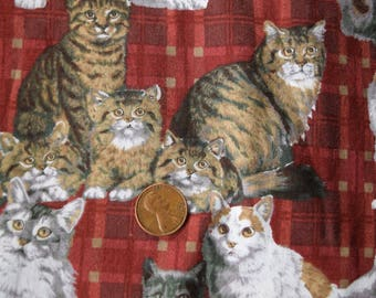 1 Yard David Textiles Kitties on Plaid