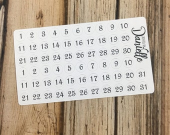 Number Stickers for Date in Undated Planner, Calendar, Journal or Notebook, Functional Number Dot Stickers, set of 62 - Black