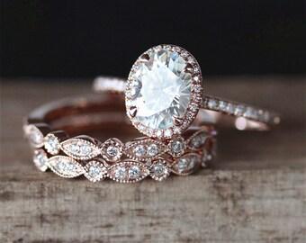 3PCS Moissanite Engagement Ring Set Forever One 6*8mm Oval Moissanite Ring Art Deco Half Eternity Wedding Ring  14K Rose Gold Ring Set