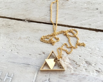 Tiny Double Triangle Necklace, Dainty Geometric shaped Pendant, gift for her, Layering Minimal Bridesmaids, Initial Custom Personalized