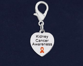 Kidney Cancer Awareness Heart Hanging Charm (1 Hanging Charm) (RE-HC-HRT-5KC)