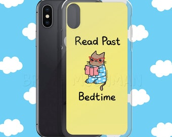 Bookworm Cat iPhone Case Read Past Bedtime iPhone X Case Clear iPhone 6 Case Bookworm Phone Case Book Worm Gift Book Lover Phone Case