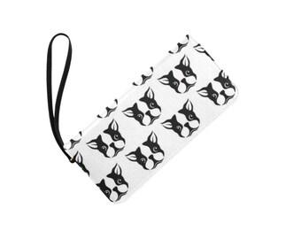 Boston Terrier clutch purse. Women Wallet.