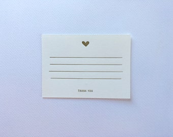 Gold Heart Letterpress Note Card_Thank You