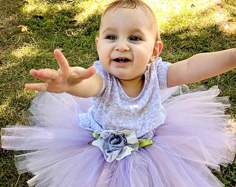 Lilac Tutu 12 Month to 2T, Flower Girl Tutu Skirt, Baby's First Birthday, Baby Photo, Princess Tutu, Ballerina, Dress-up Tutu, Fairy, Flower